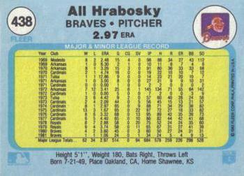 1982 Fleer #438a Al Hrabosky Back