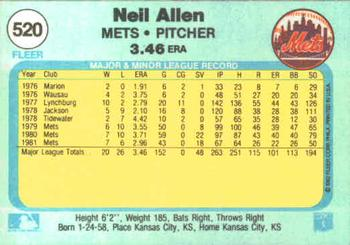 1982 Fleer #520 Neil Allen Back
