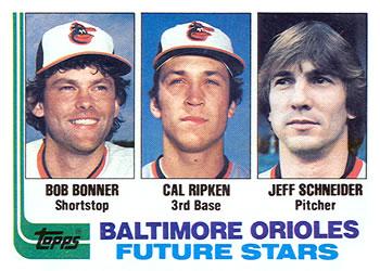 1982 Topps #21 Orioles Future Stars - Bob Bonner / Cal Ripken Jr. / Jeff Schneider Front