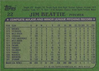 1982 Topps #22 Jim Beattie Back