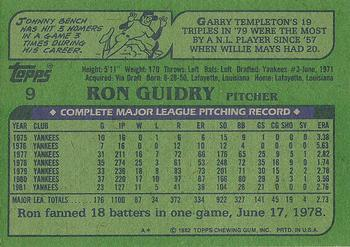 1982 Topps #9 Ron Guidry Back