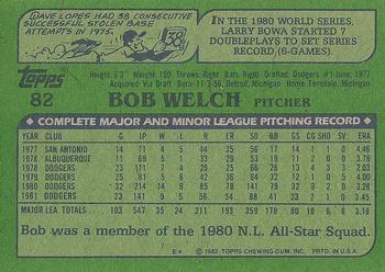 1982 Topps #82 Bob Welch Back