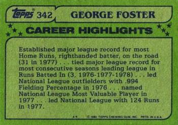 1982 Topps #342 George Foster Back