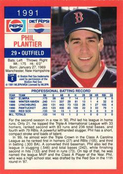 4dc8e880cb 1991 Pepsi Boston Red Sox #NNO Phil Plantier Back