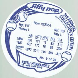 1988 Jiffy Pop Discs #9 Keith Hernandez Back