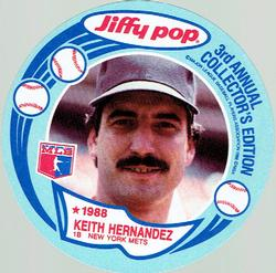 1988 Jiffy Pop Discs #9 Keith Hernandez Front