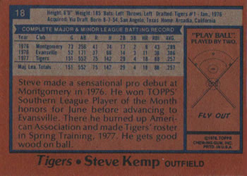 1978 Burger King Detroit Tigers #18 Steve Kemp Back