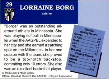 1995 Larry Fritsch Cards AAGPBL Series 1 #29 Lorraine Borg Back