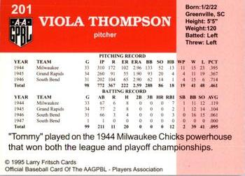 1995 Larry Fritsch Cards AAGPBL Series 1 #201 Viola Thompson Back