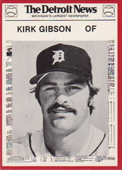 1981 Detroit News Detroit Tigers #20 Kirk Gibson Front