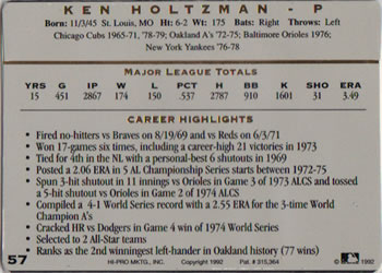 1992 Action Packed All-Star Gallery #57 Ken Holtzman Back