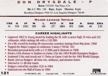 1993 Action Packed ASG #121 Don Drysdale Back
