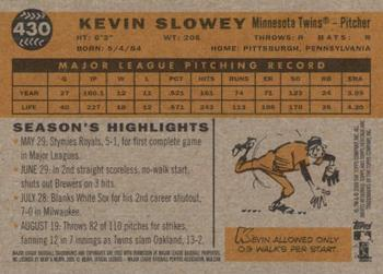 2009 Topps Heritage #430 Kevin Slowey Back