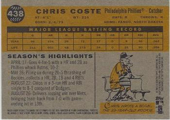 2009 Topps Heritage #438 Chris Coste Back