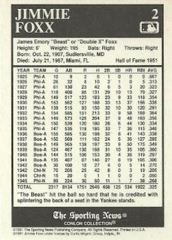 1991 Conlon Collection TSN #2 Jimmie Foxx Back