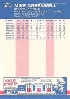 1987 Fleer Update - Glossy #U-37 Mike Greenwell Back