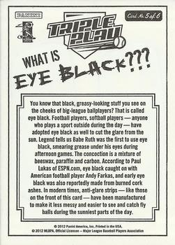 2012 Panini Triple Play - Eye Black #5 Tribal Large Back