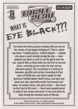 2012 Panini Triple Play - Eye Black #6 Power Hitter Back