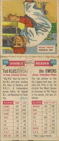 1955 Topps Double Header #121 Ted Kluszewski / 122 Jim Owens Back