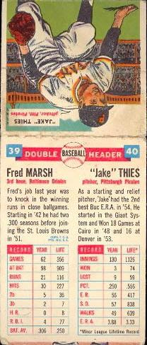 1955 Topps Double Header #39 Fred Marsh / 40 Vernon Thies Back