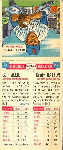 1955 Topps Double Header #71 Gair Allie / 72 Grady Hatton Back