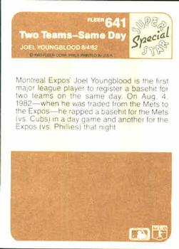 1983 Fleer #641 Two Teams--Same Day (Joel Youngblood) Back