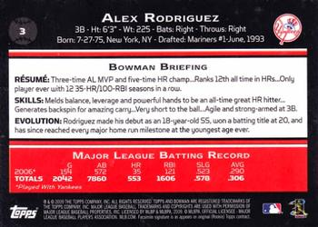 2009 Bowman #3 Alex Rodriguez Back