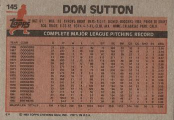 1983 Topps #145 Don Sutton Back