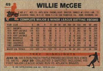 1983 Topps #49 Willie McGee Back
