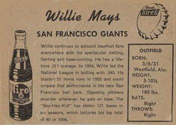 1958 Hires Root Beer Test #NNO Willie Mays    Back