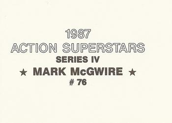 1987 Action SuperStars Series 4 (unlicensed) #76 Mark McGwire Back