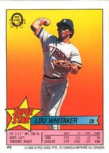 1989 O-Pee-Chee Sticker Backs #6 Lou Whitaker Front