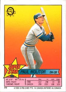 1989 O-Pee-Chee Sticker Backs #9 Paul Molitor Front