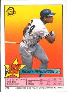 1989 O-Pee-Chee Stickers - Super Star Backs #18 Rickey Henderson Front