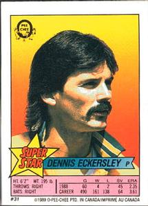 1989 O-Pee-Chee Stickers - Super Star Backs #31 Dennis Eckersley Front
