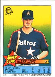 1989 O-Pee-Chee Stickers - Super Star Backs #35 Glenn Davis Front