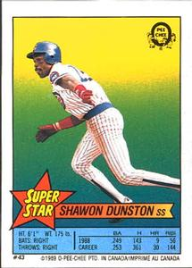 1989 O-Pee-Chee Stickers - Super Star Backs #43 Shawon Dunston Front