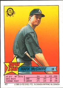 1989 O-Pee-Chee Sticker Backs #3 Mark McGwire Front