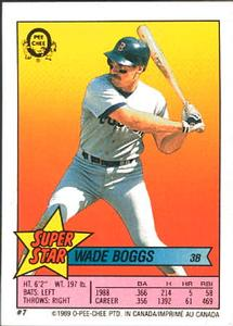 1989 O-Pee-Chee Sticker Backs #7 Wade Boggs Front