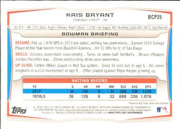 2014 Bowman - Chrome Prospects #BCP25 Kris Bryant Back