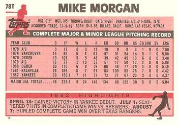 1983 Topps Traded #78T Mike Morgan Back