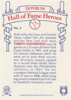 1983 Donruss Hall of Fame Heroes #3 Christy Mathewson Back