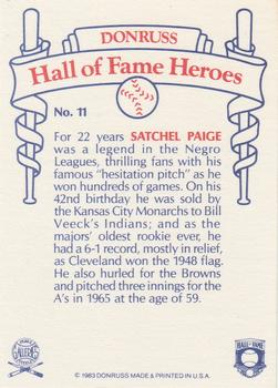 1983 Donruss Hall of Fame Heroes #11 Satchel Paige Back