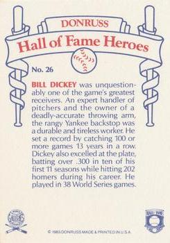 1983 Donruss Hall of Fame Heroes #26 Bill Dickey Back