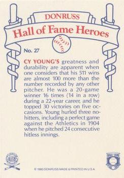 1983 Donruss Hall of Fame Heroes #27 Cy Young Back