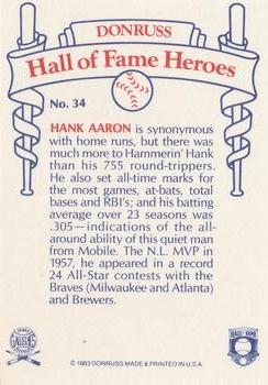 1983 Donruss Hall of Fame Heroes #34 Hank Aaron Back