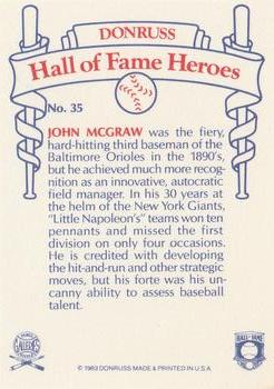 1983 Donruss Hall of Fame Heroes #35 John McGraw Back