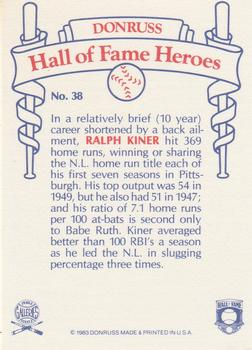 1983 Donruss Hall of Fame Heroes #38 Ralph Kiner Back