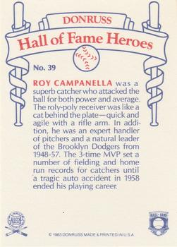 1983 Donruss Hall of Fame Heroes #39 Roy Campanella Back