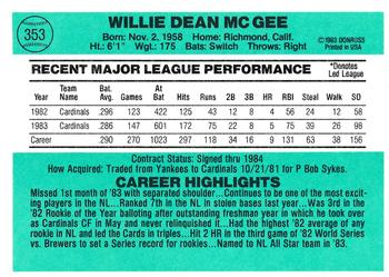 1984 Donruss #353 Willie McGee Back